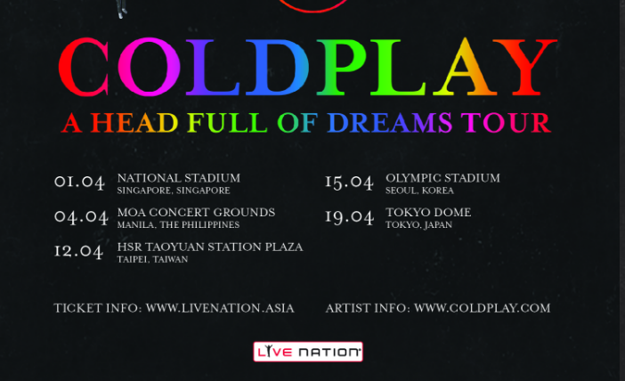 Coldplay to perform in Singapore April 1